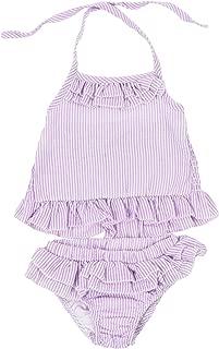 2pcs Baby Girls Summerwear Ruffle Seersucker Cute Straps Bikini Skirt Swimsuit Tankini Sunsuit Bathing Suit