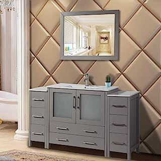 Vanity Art 60 inch Single Sink Modern Bathroom Vanity Compact Set 1 Shelf, 8 Drawers - Ceramic Top Bathroom Cabinet with Free Mirror (Gray) - VA3036-60-G