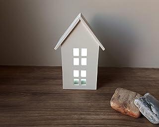 Casa blanca de madera con luz | Incluye una luz LED