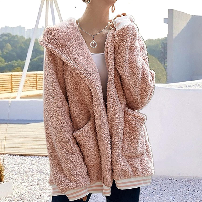 Womens Plush Hooded Coat Casual Faux Fur Zipper Hoodie Warm Winter Fleece Jackets Fuzzy Oversized Outwear with Pocket