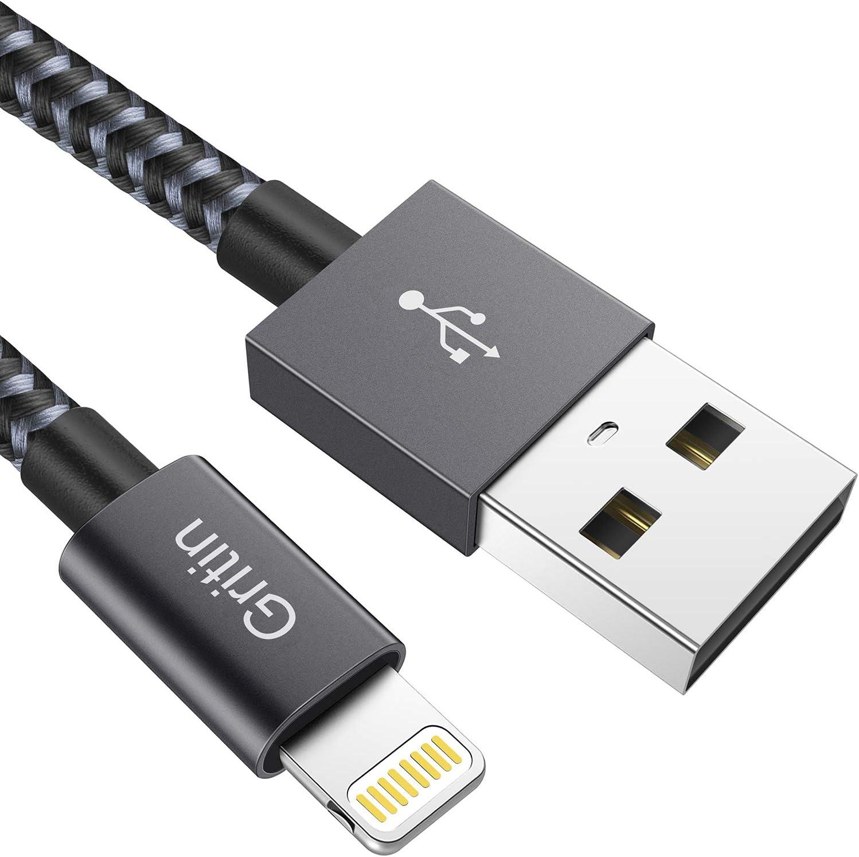 2M Apple MFi Certificado Gritin Cable Lightning Cargador iPhone Carga R/ápida Nylon Trenzado Primera Calidad para iPhone XR//XS MAX//XS//X//8//7//6S Plus//SE//5S//5C//5//iPad Pro//iPad Air//iPod