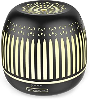 ASAKUKI Metal Essential Oil Diffuser - Decorative Aromatherapy Diffusers & Humidifiers - Ultrasonic Cool Mist Aroma Therapy Air Desk Humidifier - 500ml Water Tank, Auto Shut Off & 7 LED Light Colors