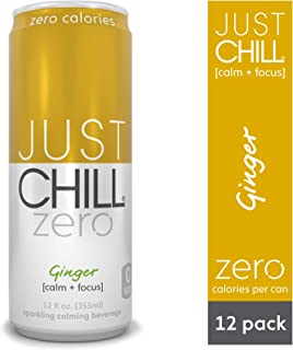 Just Chill Zero Ginger 12 oz Can (Pack of 12) Calorie Free, Stress Relief Calming & Relaxing Beverage, Made with SunTheanine to Enhance Focus; Sugar Free, All Natural, Non GMO Carbonated Drink