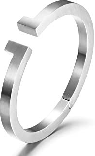 Black Bracelet Mens Bangle Bracelet with Stainless Steel and Spring-Clasp Cuff Bangle Bracelet Jewelry Gift for Men Boys