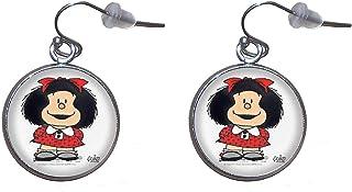 Pendientes de colgar de Acero, Diámetro 20mm, Hecho a Mano Ilustración Mafalda 4