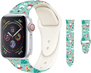 Hi-Yoohere Chic Breathable Christmas Party Pattern Bands Compatible for Apple Watch 38mm 40mm, Grade Soft Silicone Sports Wristband Strap for iWatch SE & Series 6/5/4/3/2/1