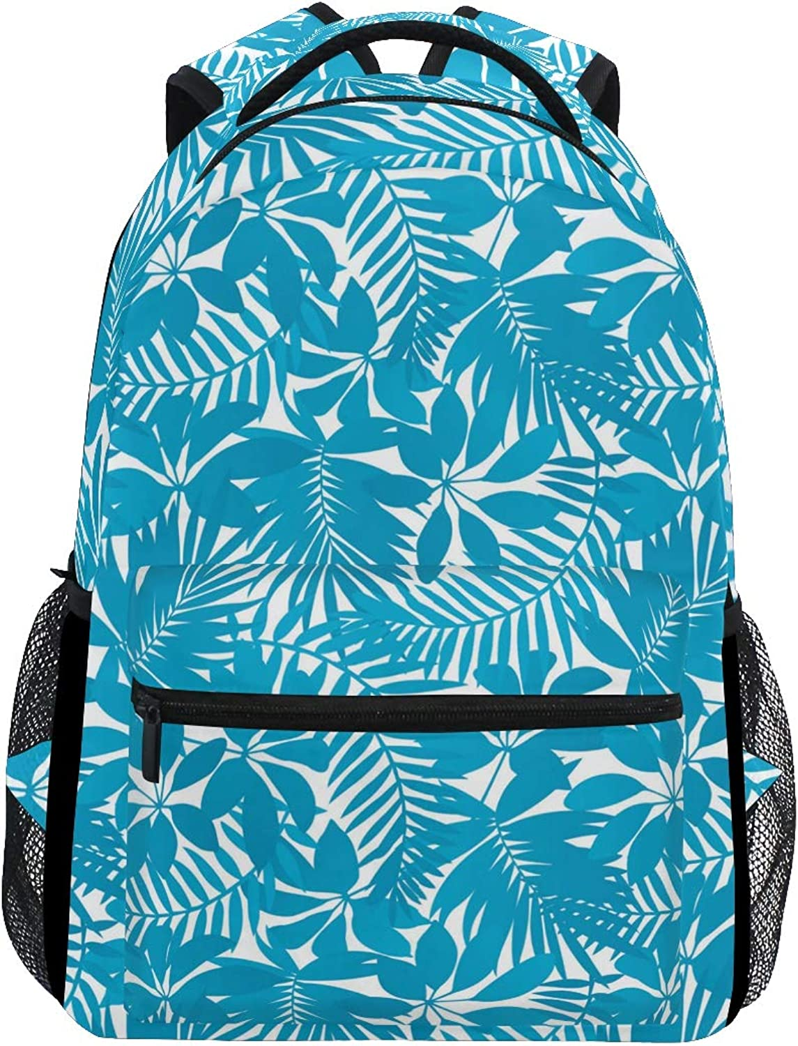 bluee Palm Leaf Pattern Large Backpack Travel Outdoor Sports Laptop Backpack for Women & Men College School Water Resistant