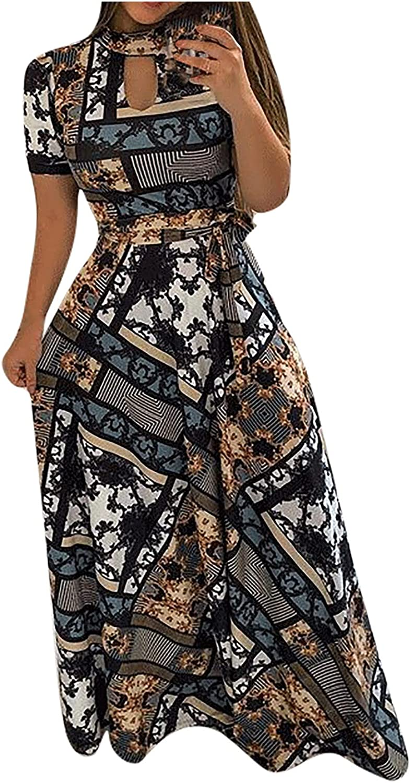 Summer Vintage Print Maxi Dress Women Fashion O-Neck Short Sleeve Hollow Slim Waist Sashes Dress Pleated Long Dress