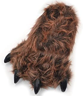 Millffy Zapatillas Divertidas Oso Grizzly Peluche Animal Peludo Garra Paw Zapatillas Niños, Niños y Adultos Disfraz Calzado
