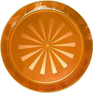 """Party Essentials N161255 Heavy Duty Brights Plastic Round Tray, 16"""" Diameter, Neon Orange (Case of 12)"""