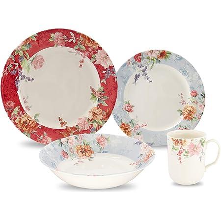 Amazon Com Tudor Royal Collection 24 Piece Premium Quality Porcelain Dinnerware Set Service For 6 Crimson See 10 Designs Inside Dinnerware Sets
