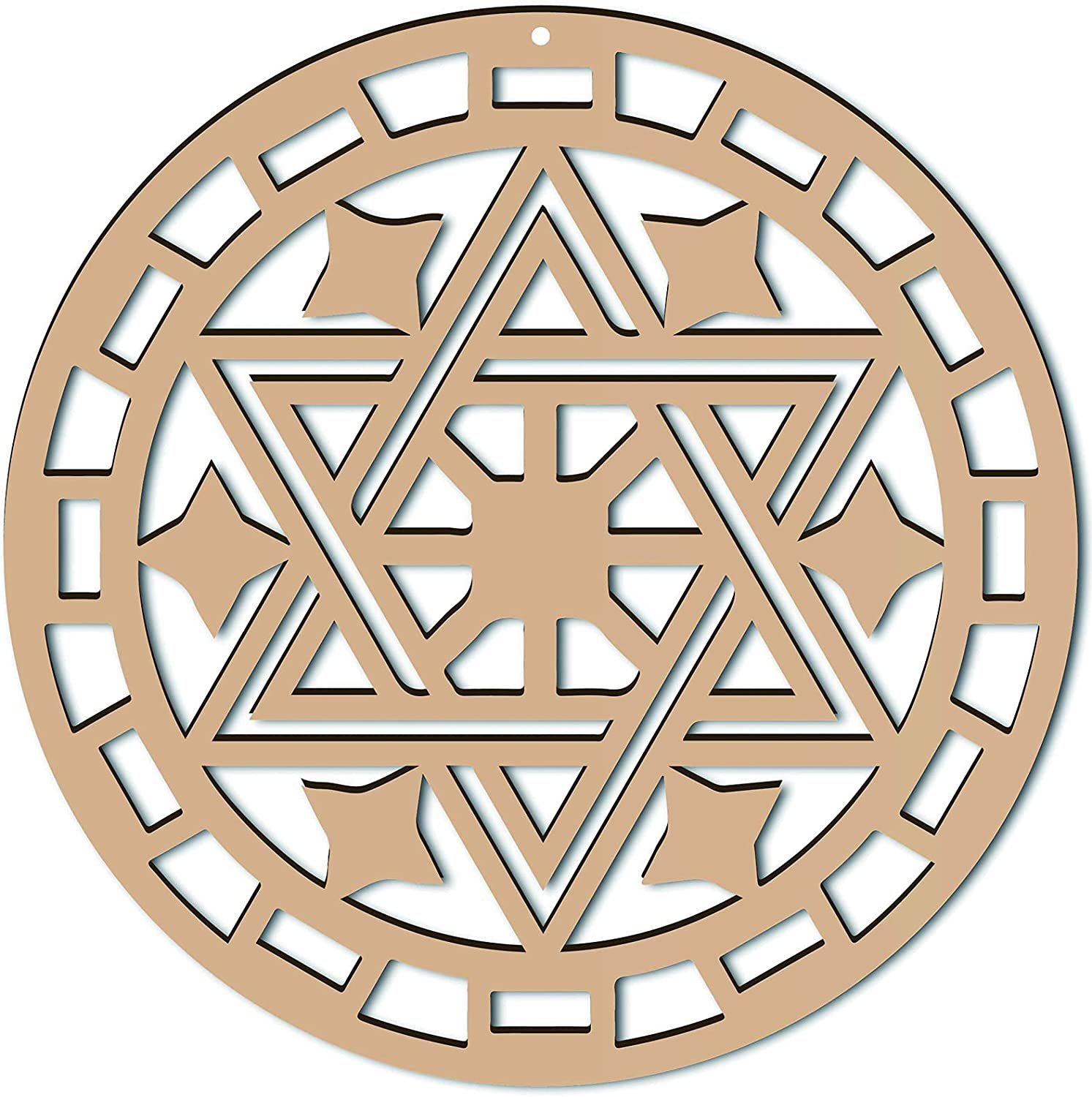 CREATCABIN 12inch Star of David Wall Art Wooden Crystal Grid Sacred Geometry Laser Cut Wall Sculpture Hanging Decor Spiritual Symbol Flat Round for Home Office Yoga Studio Decoration