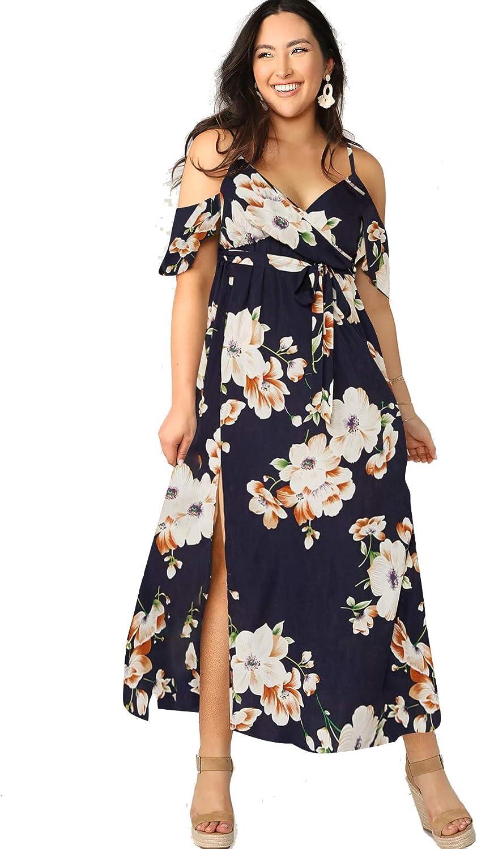 Milumia Women Plus Size Cold Shoulder Floral Maxi Bohemian Split Dress