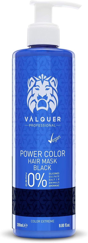 Válquer Professional Mascarilla Power Color cabellos teñidos. Vegano y sin sulfatos (cabello negro). Potenciador color pelo- 275 ml