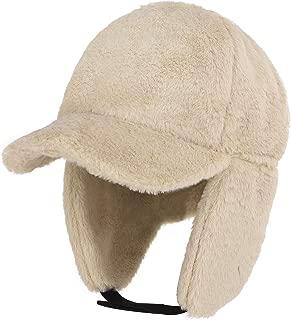 RUIXIB Women Girl Warm Winter Hat Earflap Faux Fur Peaked Hat Cap with Earmuffs Warmer