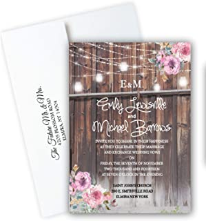 Rustic Barn Wedding Invitations Personalized Cards Set of 20