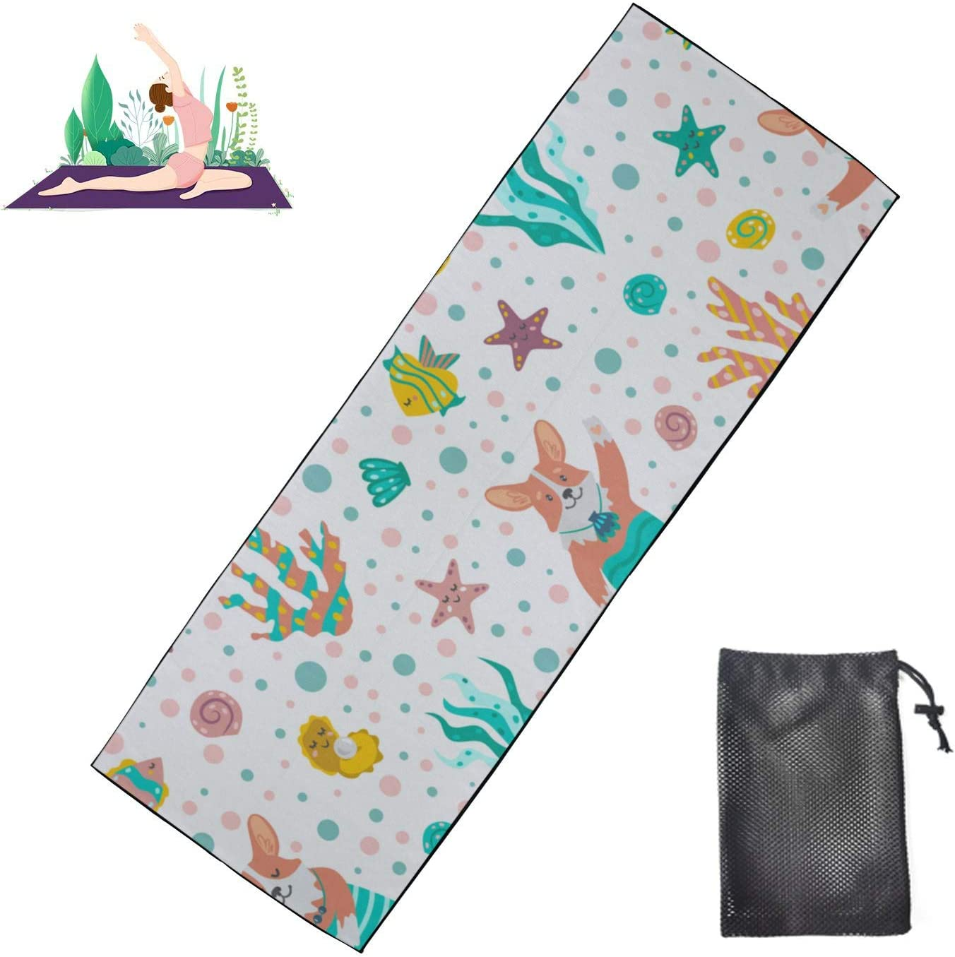 Huqalh Mens Yoga Mat Non Slip Bargain Funny Y with Max 45% OFF Tail Dog Mermaid Cute