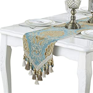 "Bettery Home Modern Luxury Table Runner Jacquard Floral Dresser Scarves with Multi-Tassels, 13"" x 82"", Blue"