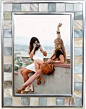 GIFTME 5 Silver Plate Picture Frame 5x7 Mother of Pearl 5 by 7 Photo Frame Mosaic Glass Tabletop Frame (Grey+ White)