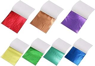 Imitation Gold Leaf Sheets Metal Leaf Papers Faux Gold Leaf Sheets 100 Sheets (Rainbow 7 Colors)