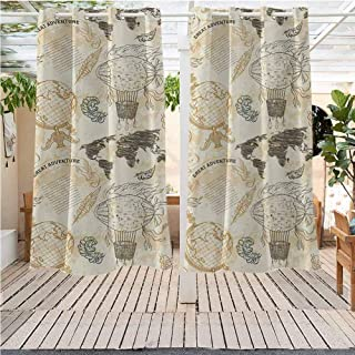 DONEECKL World Map Outdoor Sky Pattern with Vintage Globe World Map Airship Rope Knots Ribbon Retro Print Gazebo W55 x L45 inch Beige Olive Green