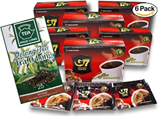 G7 Black Coffee with Oolong Tea Bundle. 6-Pack of G7 Instant Vietnamese Coffee. 15 Coffee Sachets per Pack. With a Box of 25 Oolong Teabags by Vietnam's Phu Long. Total 180 Grams Coffee. 50 Grams Tea