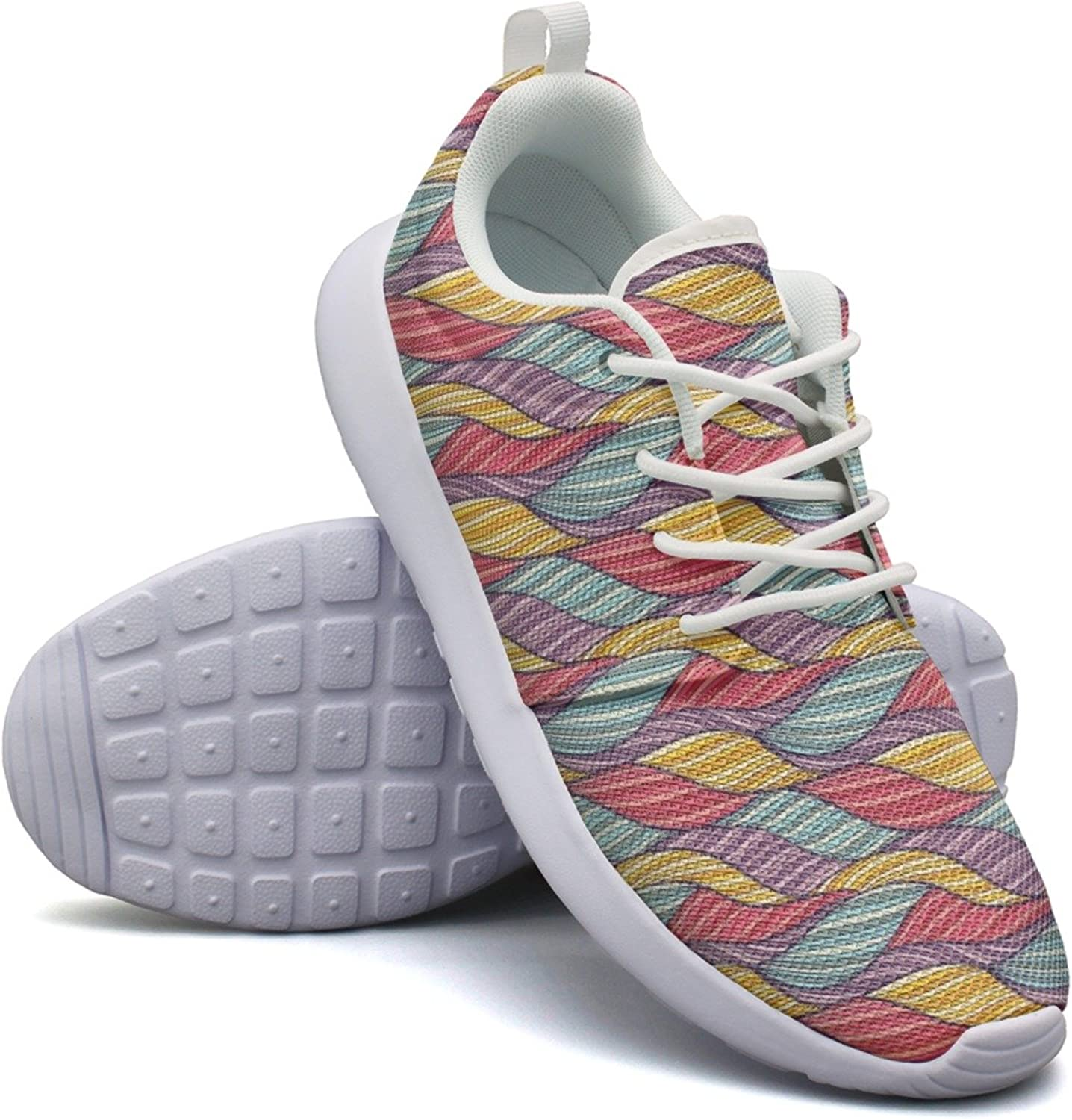 Women Girls Rainbow Waves colorful Printing Novelty Fashion Running shoes