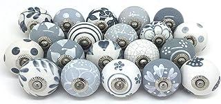handicraft india - Tirador de cerámica para cajón de Armario (20 Unidades) Color Gris y Blanco