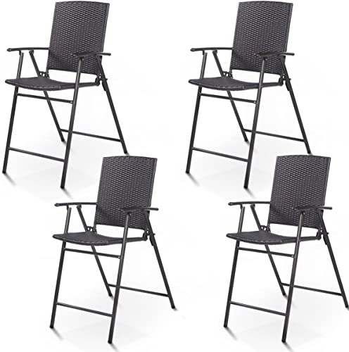 discount Giantex Folding Wicker Rattan Bar Chairs Tall Stool with Back Steel Frame Portable Outdoor Indoor UV online Resistant Barstools Garden sale Patio Furniture Set w/Armrests Footrest (Set of 4 Rattan Wicker) outlet online sale