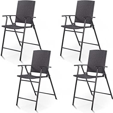 Giantex Folding Wicker Rattan Bar Chairs Tall Stool with Back Steel Frame Portable Outdoor Indoor UV Resistant Barstools Gard