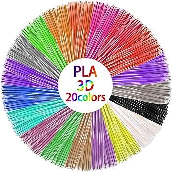 3D Stift Filament, Filament 1.75 Pla, 3D Stifte Glühfaden PLA für 3D Stiften und Druckern 20 Farben Zufällige, je 1,75mm 10M TECHSHARE (16 beliebte + 4 Fluoreszierend Farben)