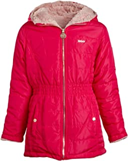 DKNY Girls Hooded Reversible Jacket - Nylon Puffer or Sherpa Lined Coat