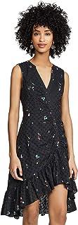 فستان باركر للسيدات بتصميم فستان طويل مكشكش من الأمام بأزرار الحلوى