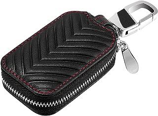 KUMEED Car Key Case Genuine Leather Keyring Zipper Bag Keychain Holder Metal Hook for Remote Key Fob