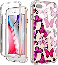 YiYiYaYa for iPhone 6 6S 7 8 Plus Case with Built in Screen Protector, Clear Floral Pattern for Girls Women, Full Body Sho...