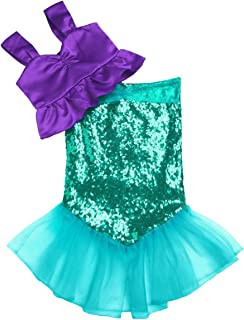 iiniim Kids Girls Shiny Sequins Mermaid Tail Costumes Halloween Party Fancy Dress up Top with Skirt Outfit Clothes