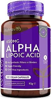 Ácido alfa lipoico 650 mg – 120 cápsulas de alta potencia para veganos – 100% naturales, si...