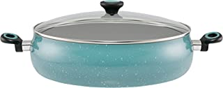 Paula Deen 13268 Riverbend Nonstick Dish/Casserole Pan with Lid, 13.75 Inch, Gulf Blue Speckle