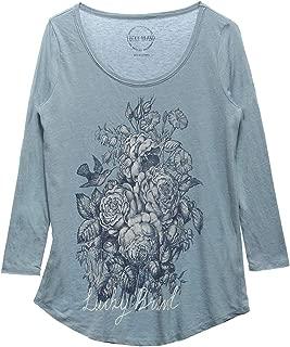 Lucky Brand Womens 3/4 Sleeve Scoop Neck Graphic Tee Shirt