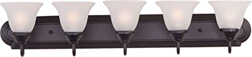 """discount Maxim 8015FTOI online sale Essentials lowest Frosted Glass Bath Vanity Wall Mount, 5-Light 300 Total Watts, 7""""H x 36""""W, Oil-Rubbed Bronze sale"""