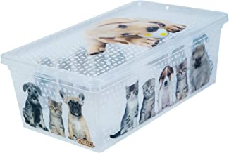 QUTU Light Box Cats Dogs Storage Box - Transparent H 19 cm x W 11.5 cm x D 33.5 cm