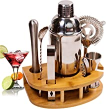 BRITOR Cocktail Shaker Set Cocktail Kit,8 Piece Stainless Steel Bartender Kit with Curved Bamboo Base Kitchen Accessories ...