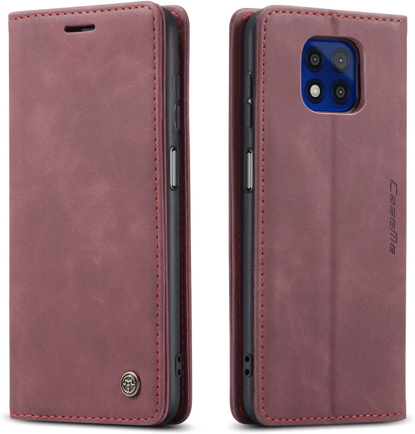 Kowauri Flip Case for Moto G Power 2021,Leather Wallet Case Classic Design with Card Slot and Magnetic Closure Flip Fold Case for Motorola Moto G Power 2021 (Wine red)