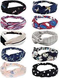 DRESHOW Boho Headbands for Women Girls Flower Printed Twisted Hair Band Beach Hair Accessory