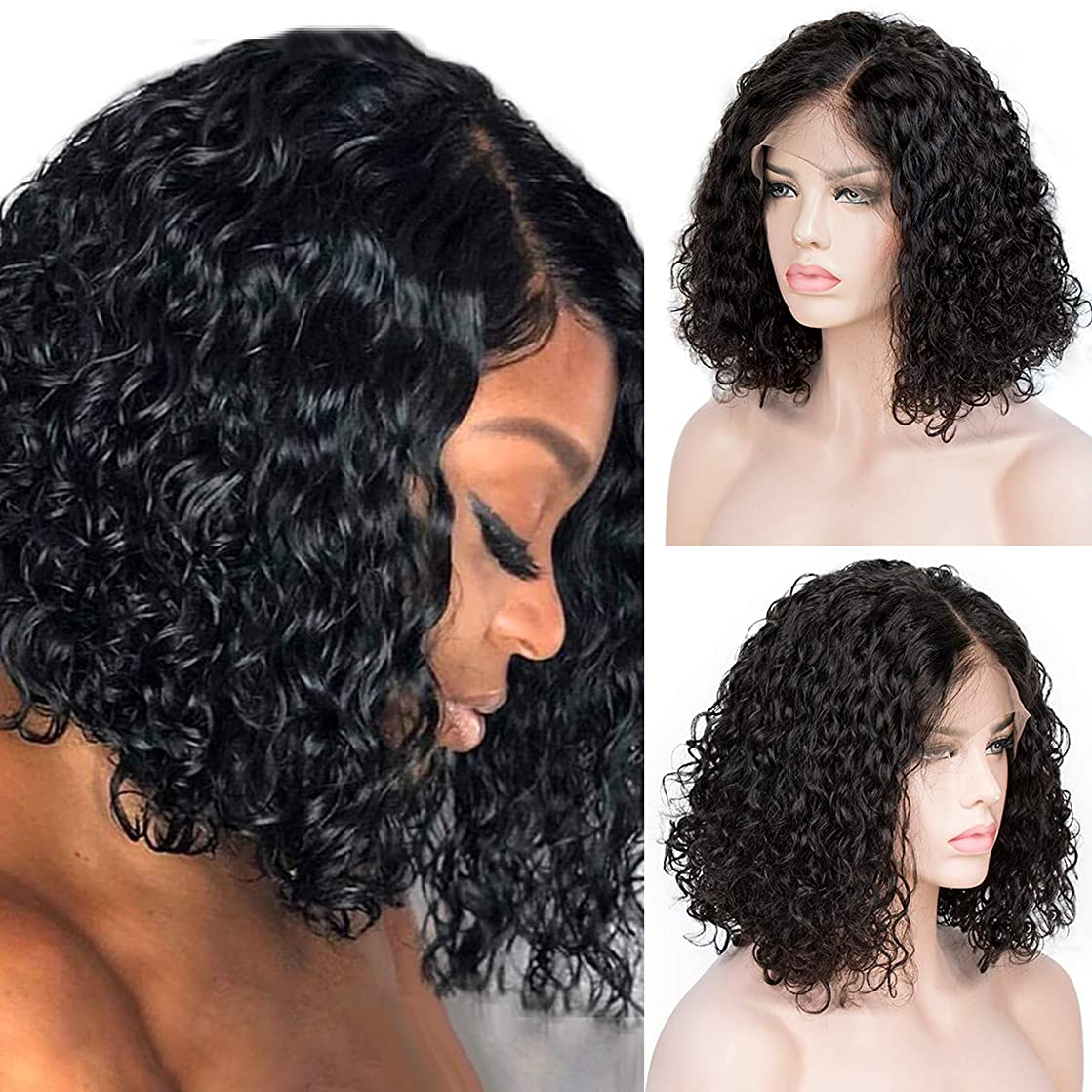 Curly Lace Front Wigs Brazilian Bob Lace Wig Human Hair Full End 13x4 Lace Wavy Wigs for Women Pre Pluck Middle Part Black 14