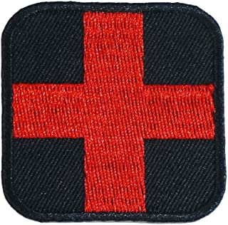 Graphic Dust 2x2 Inches Red Cross Medic Embroidered Iron On Patch Applique Black Red