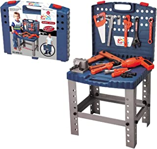 68 Piece Kids Toy Workbench W Realistic Tools and Electric Drill for Construction Workshop Tool Bench, STEM Educational Play, Pretend Play, Birthday Gifts and Toolbox for age 3 - 10 yrs old