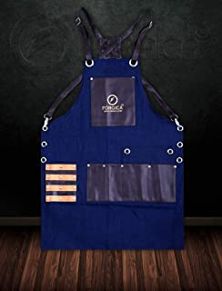 FORGICA Professional Leather Apron Hair Cutting Hairdressing Barber Apron Cape for Salon Hairstylist - Multi-use, Adjustable with 8 pockets - Heavy Duty Premium Quality - NY Edition (Dark Brown-Blue)