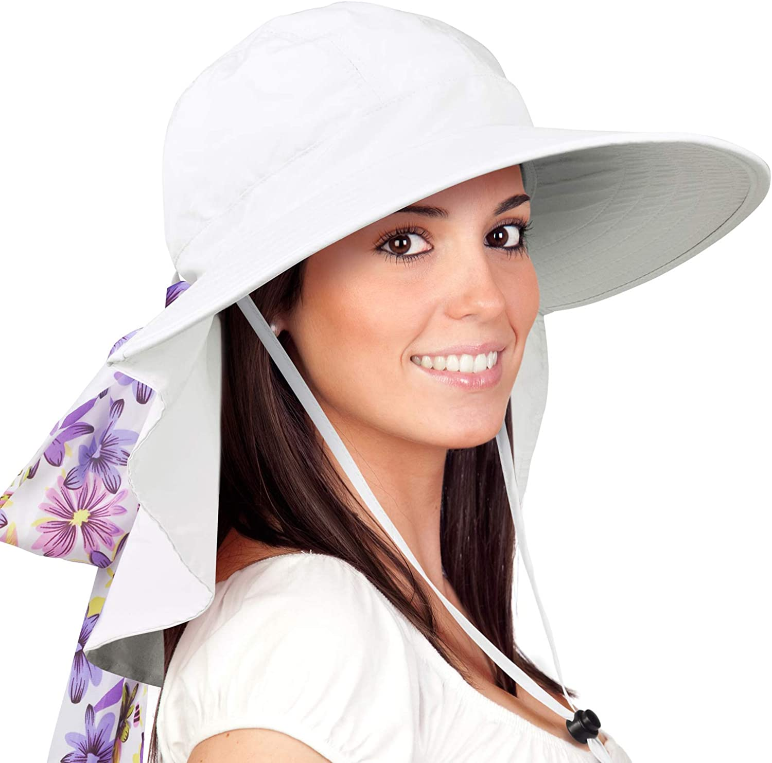 Womens Sun Hats Neck Flap Large Brim UV Predection Foldable Fishing Hiking Cap