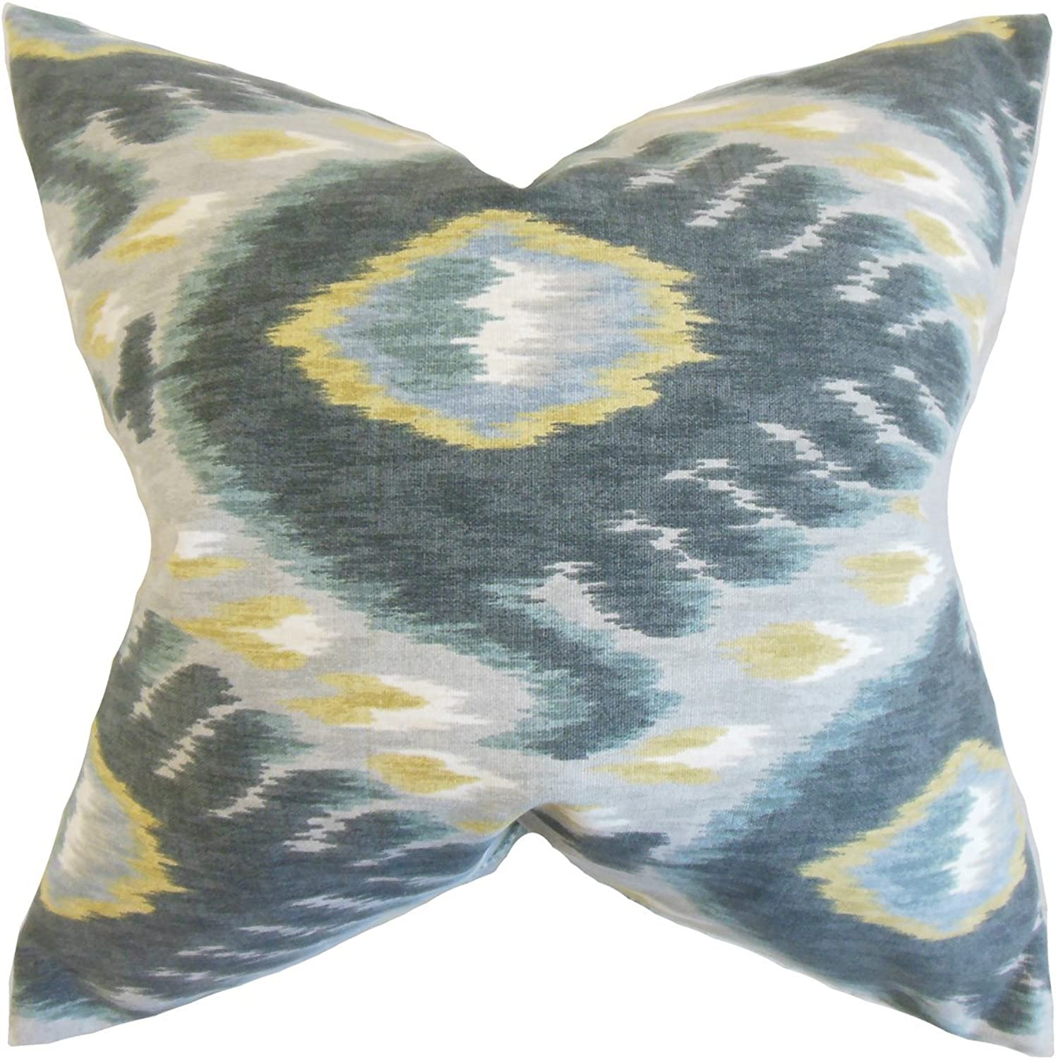 The Pillow Collection Barnum Ikat Bedding Sham Mineral, Euro 26  x 26